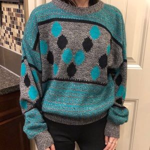 Vintage knit dad sweater retro 90's teal black dot